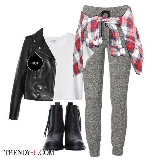Куртка-косуха, треники и клетчатая рубашка