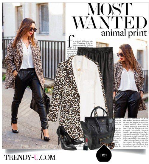 Кожаные джоггеры в сочетании с леопардовым пальто