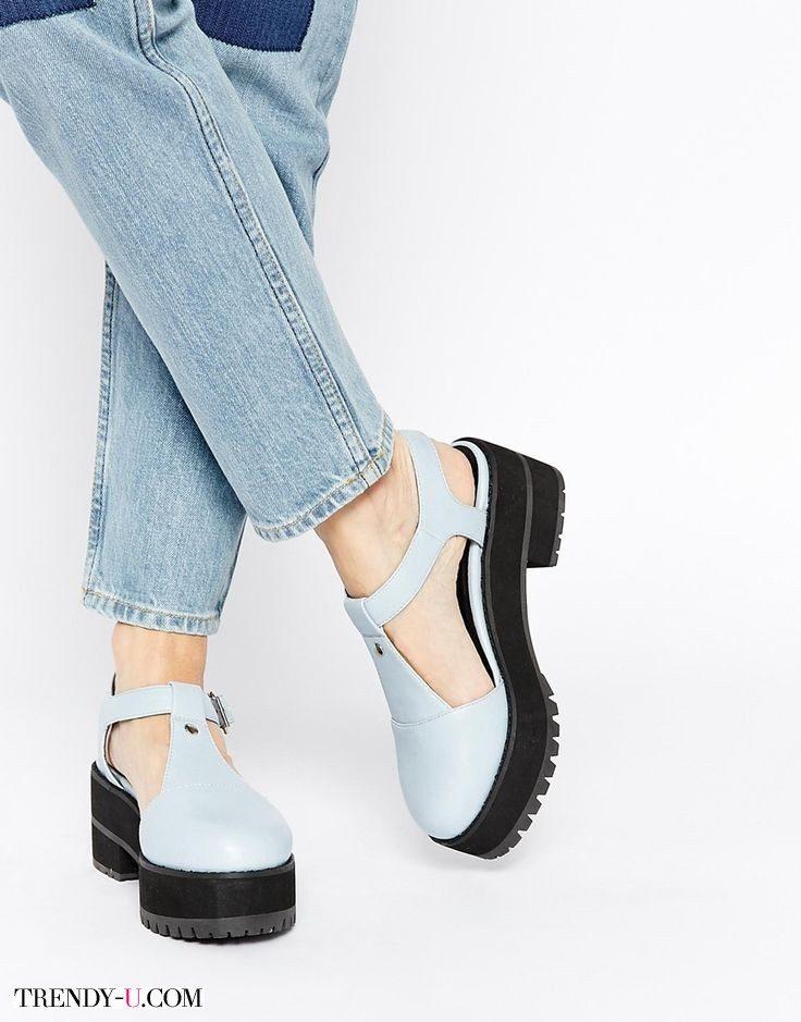 """Туфли с Т-образным ремешком на """"тракторной"""" платформе"""
