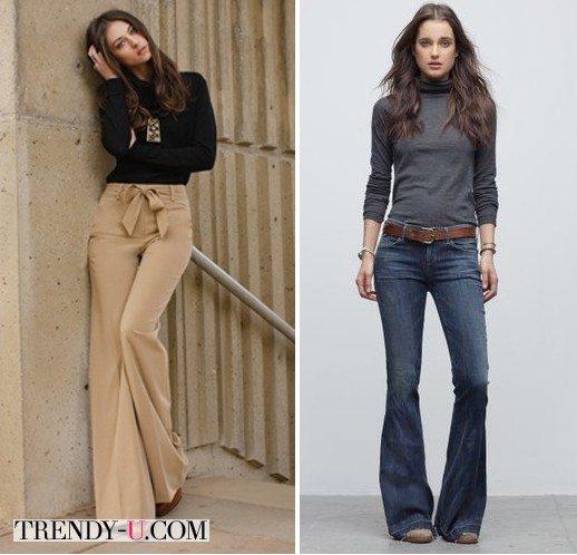 Водолазки в сочетании с брюками и джинсами клеш