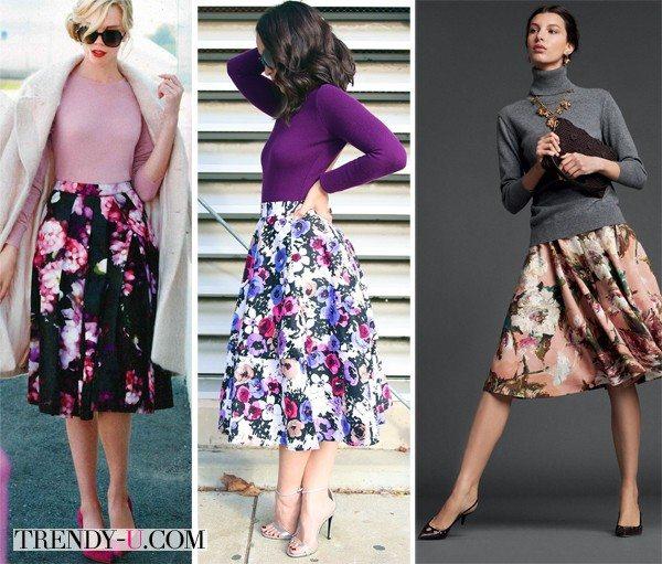 Розовая, фиолетовая и серая водолазка в сочетании с юбками с принтом