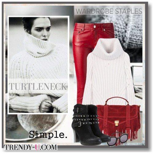 Белая водолазка и красные кожаные брюки