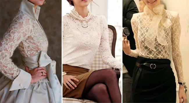 Кружевные блузки в романтическом стиле и в пастельных тонах