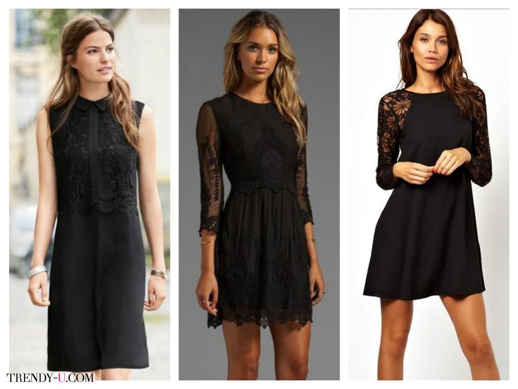 Стильные черные платья с кружевом на каждый день