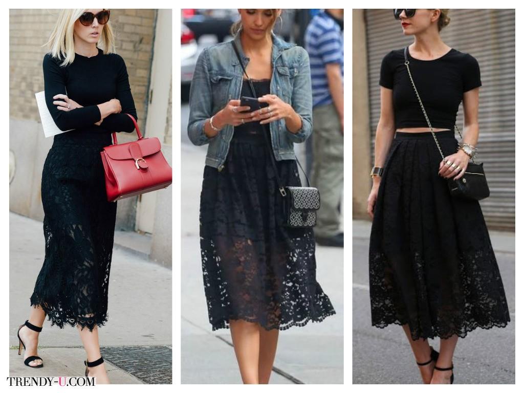 Черные кружевные юбки на каждый день