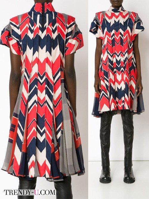 Стильное платье с геометрическим принтом Sacai