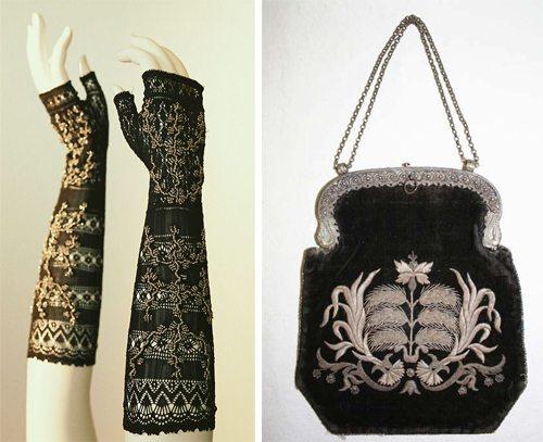 Женская театральная сумочка и перчатки, конец 19-го века