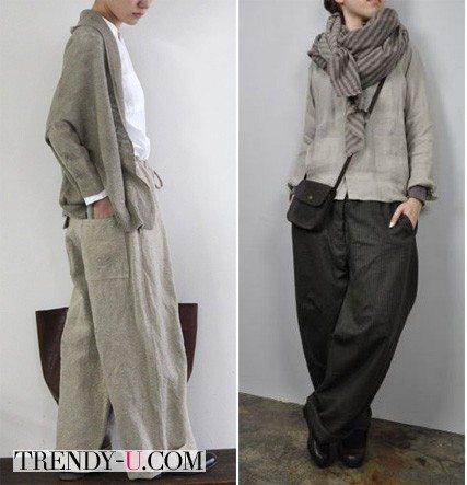 Широкие брюки на женщинах маленького роста