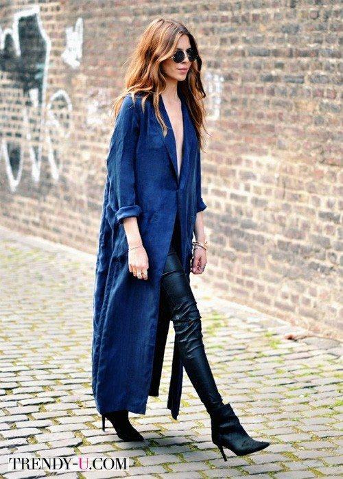 Длинное кимоно из денима в сочетании с брюками скинни