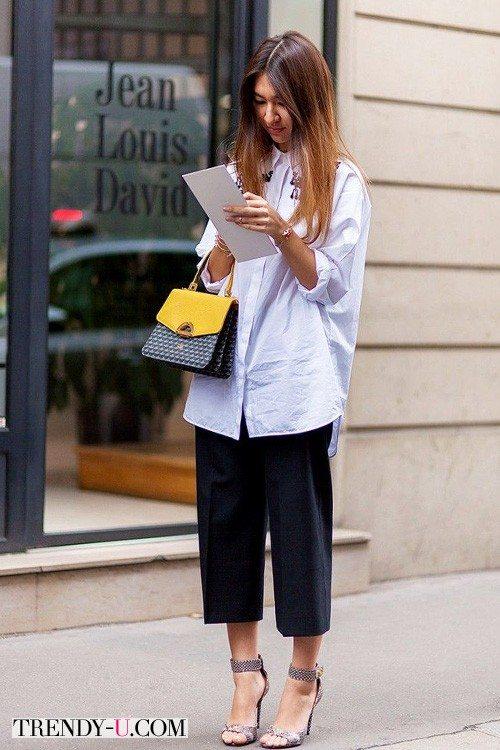 Чиносы с рубашкой на уличной моднице. Нет правилам и табу!
