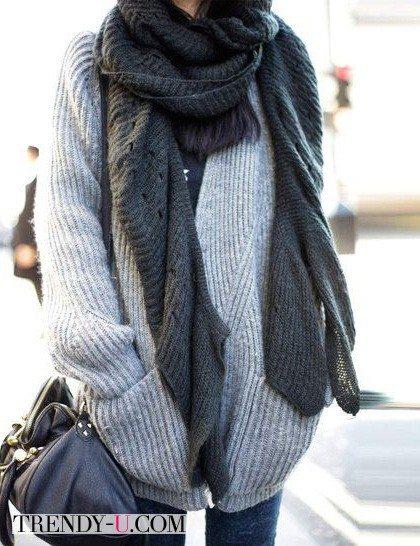 2 оттенка серого: кардиган и шарф