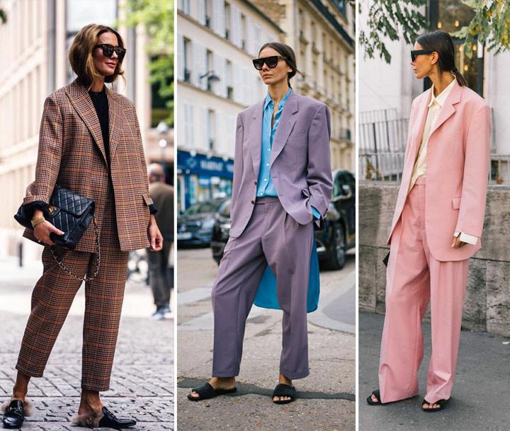 Брючные костюмы на уличных модницах