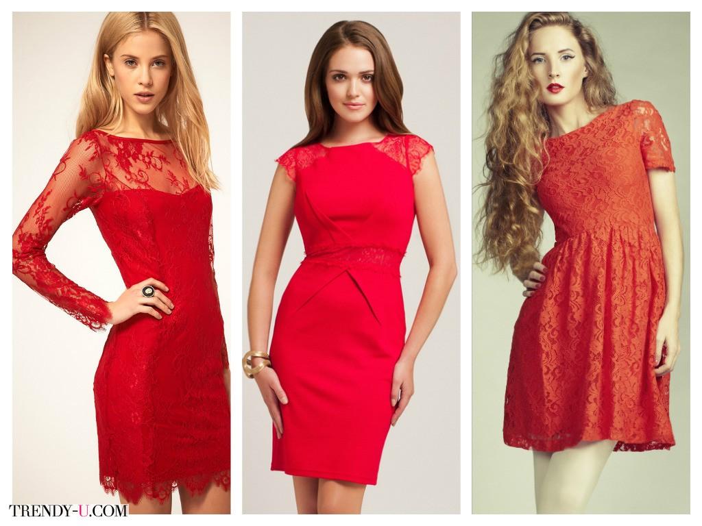Красныекружевные платья