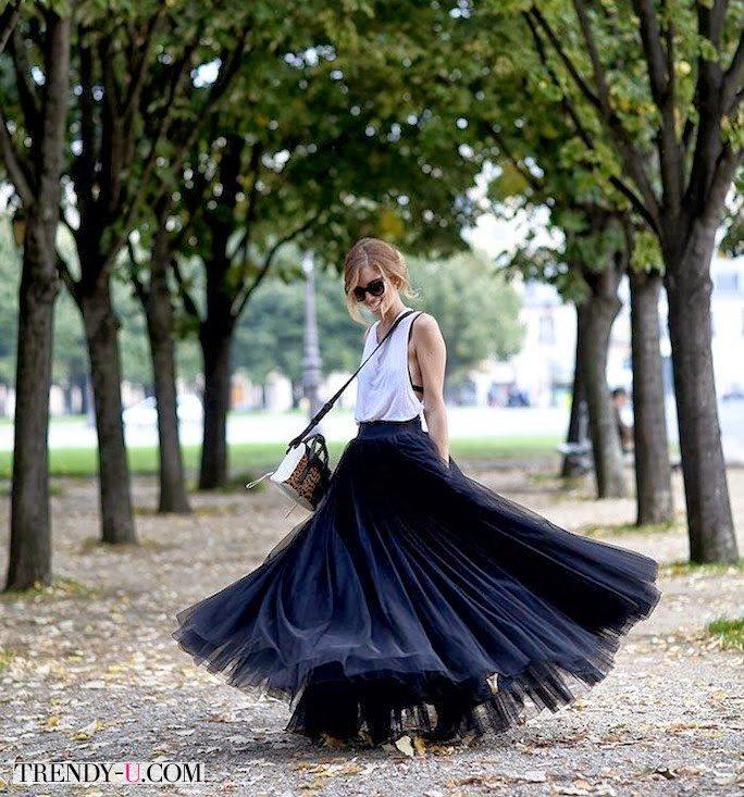 Модная юбка-макси из фатина Tutu