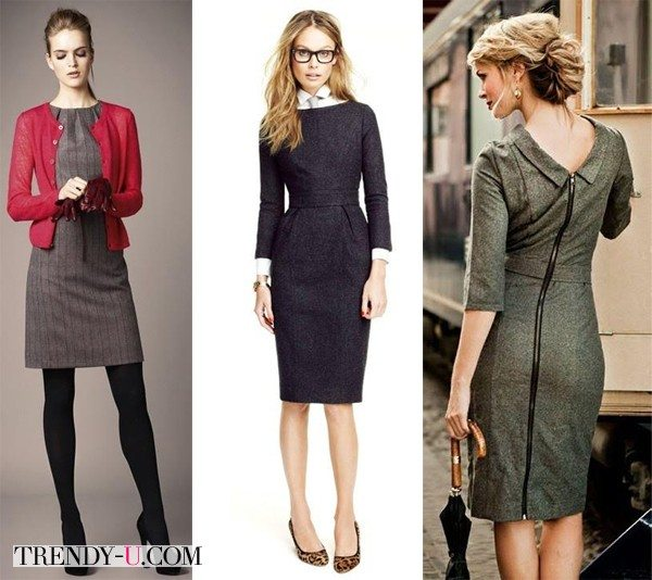 Офисные платья из твида - стильно, модно и тепло