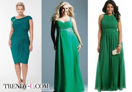 Вечерние платья в зеленом цвете