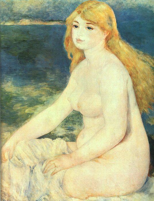 Пьер-Огюст Ренуар. Блондинка купальщица. 1881 г.