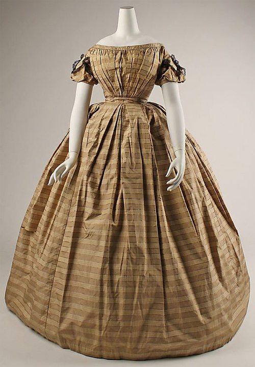 Платье в романтическом стиле, 19-й век, 1840