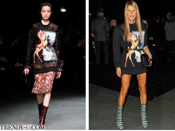 Свитшот с Бэмби от Givenchy. На подиуме и в жизни
