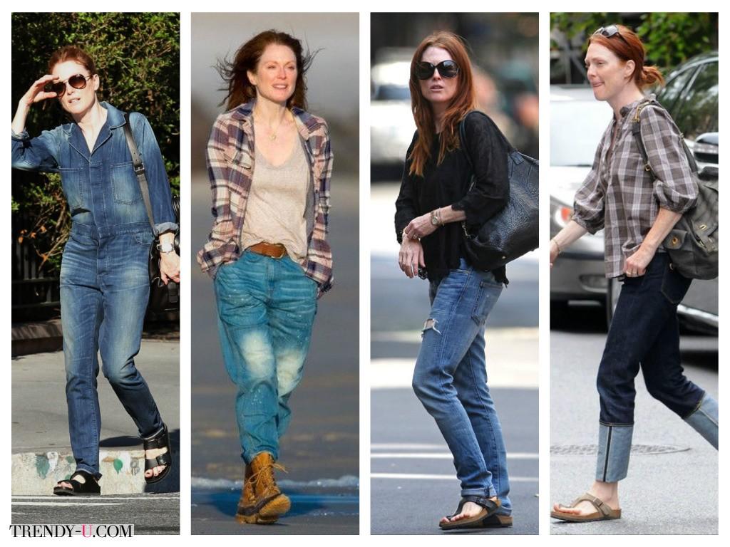 Как носить джинсы? Как Джулианна Мур!