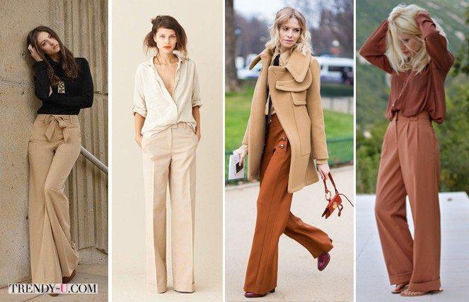 Широкие брюки цвета беж и коричневые