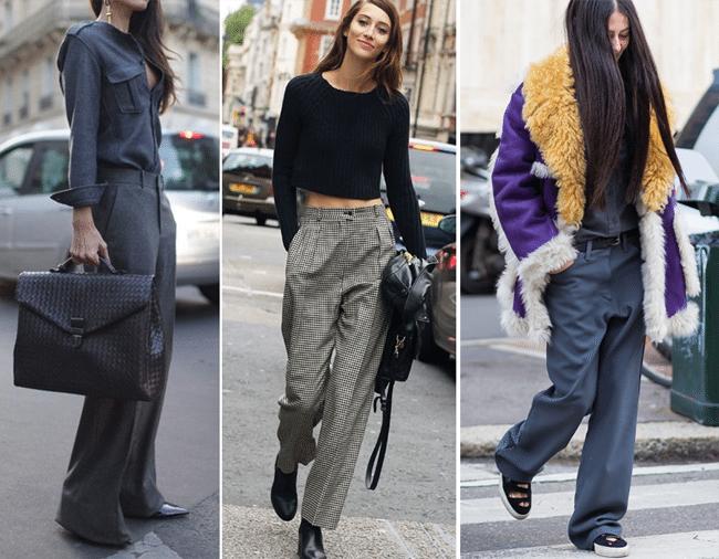 Уличные модницы в брюках оверсайз