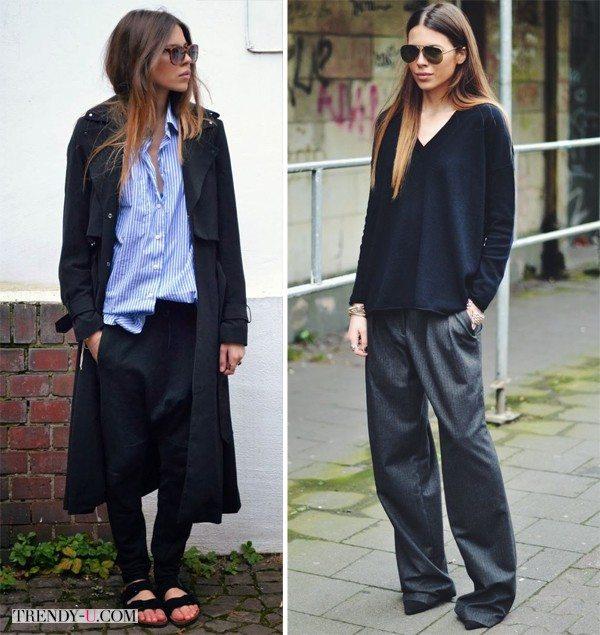 Блогер Maia Wyh в широких брюках