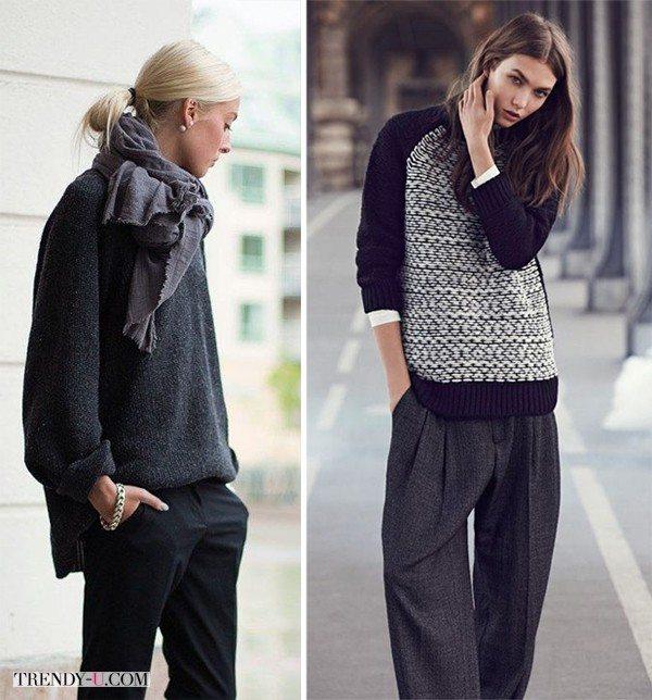 Широкие брюки в сочетании со свитерами