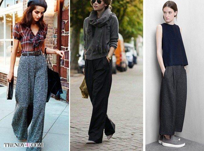 Серые широкие брюки для ярких образов
