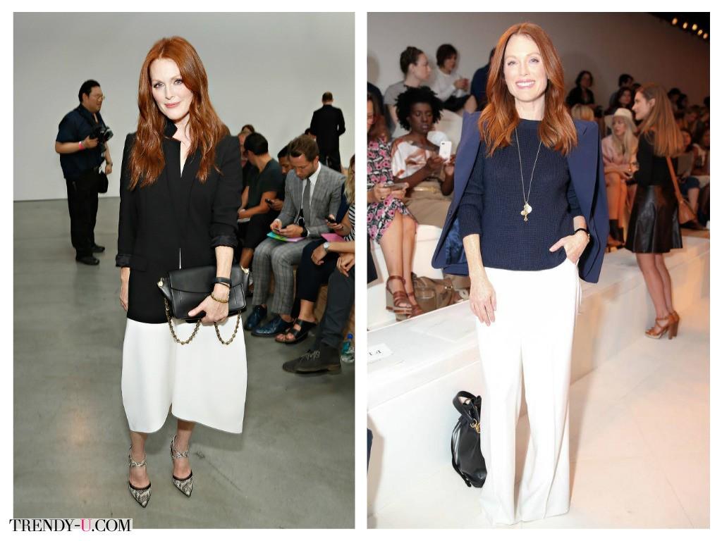 Джулианна Мур на официальном мероприятии: белые брюки - кюлоты до колен или длинные расклешенные