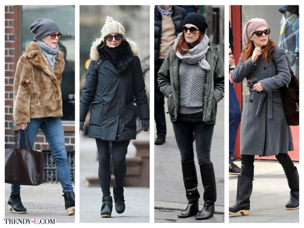 Повседневные зимние образы Джулианны Мур: тепло и удобно