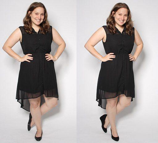 Ассиметричного кроя платье на полной невысокой девушке