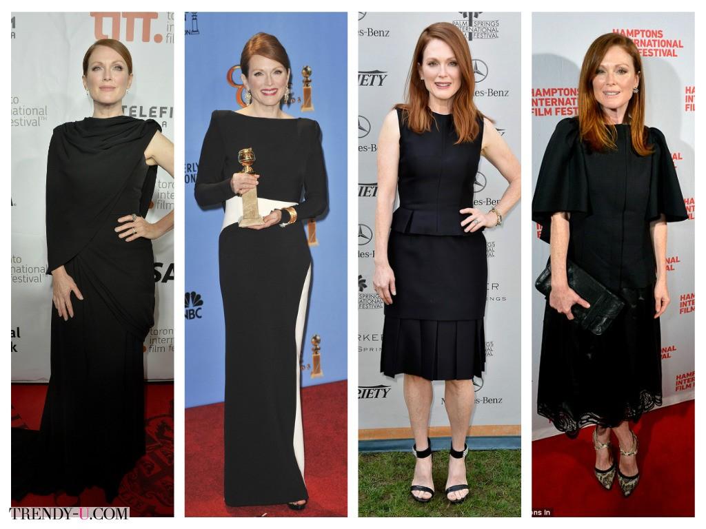 Классические черные платья на Джулианне Мур тоже хороши
