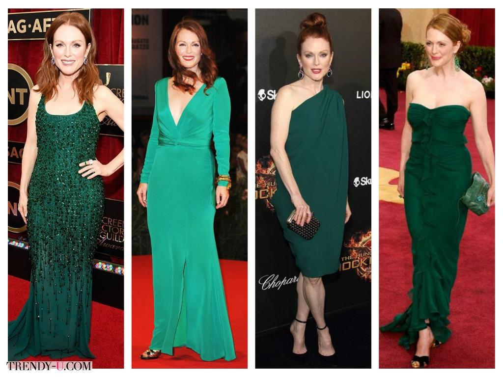 Рыжая Джулианна Мур и зеленые платья - идеальная гармония