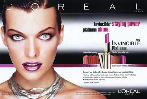 Милла Йовович в рекламе L'Oreal