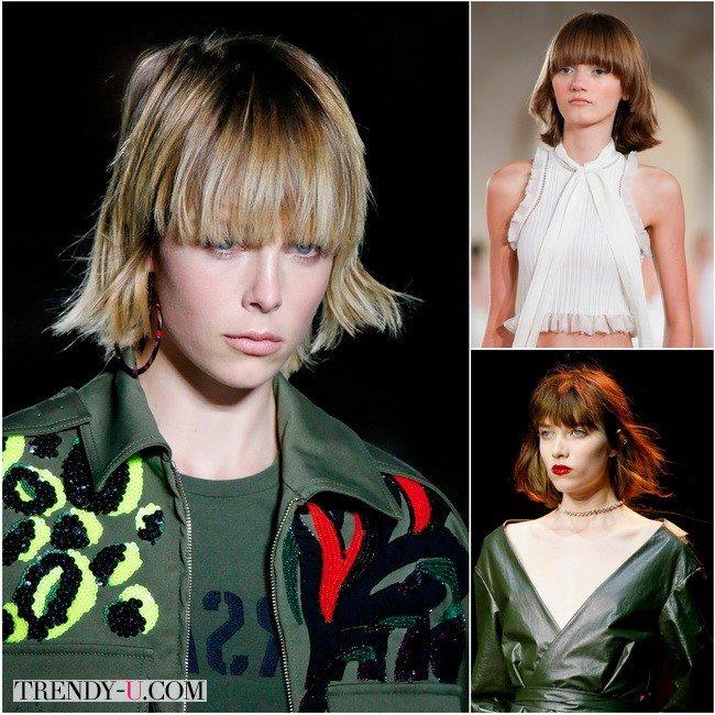 Женская стрижка каре с челкой на показах Versace, Balenciaga и Nina Ricci весна-лето 2016