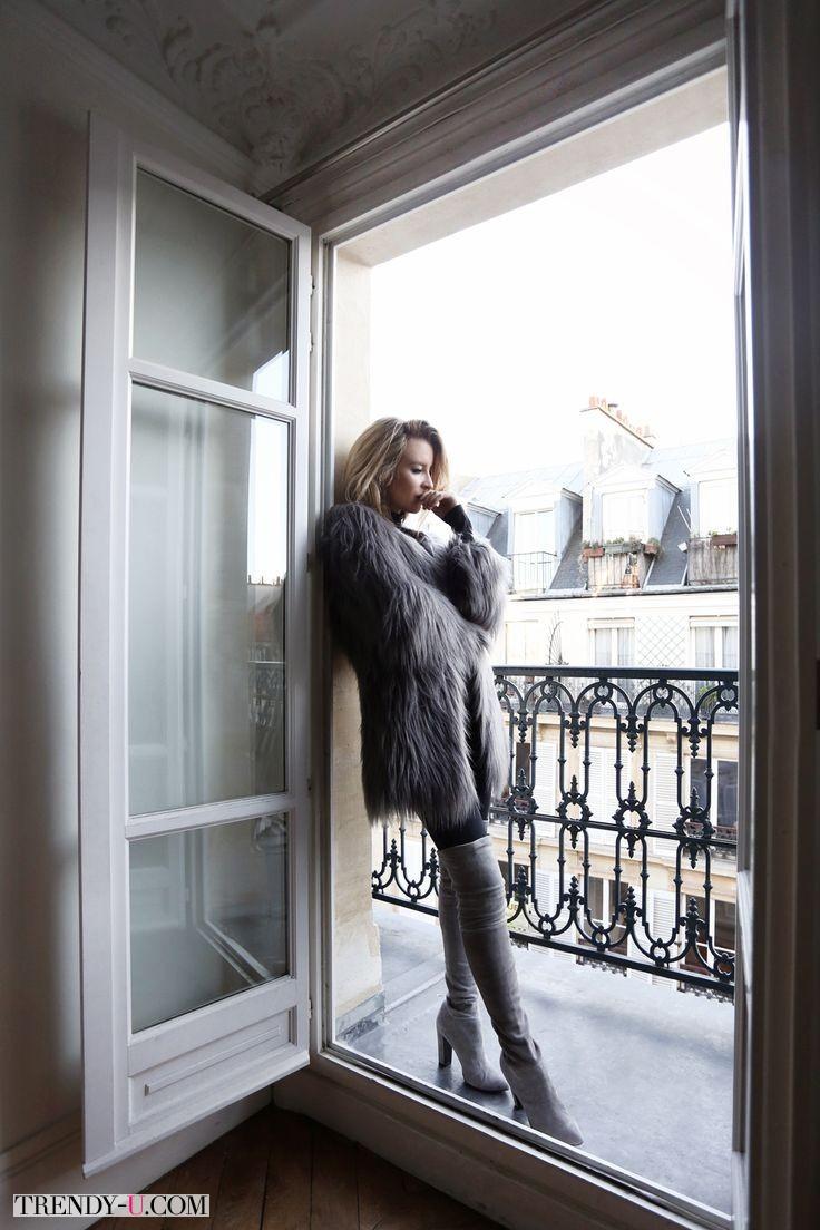 С видом на Париж - стильная шуба из искусственного меха