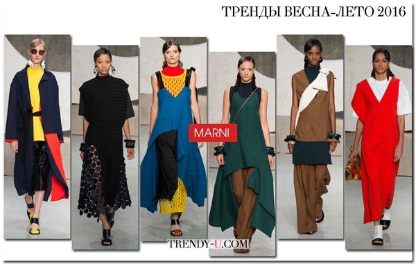 Оверсайз, асимметрия и цветовые вставки на одежде из коллекции Marni SS 2016