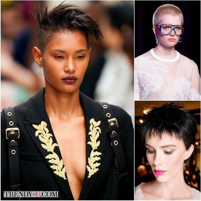 Супер короткие женские стрижки в весенне-летних коллекциях 2016 Burberry Prorsum, Emilio Pucci и Armani Prive