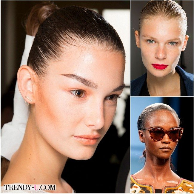 Гладко зачесанные волосы актуальный тренд от Balmain, Jason Wu, Bottega Veneta весной-летом 2016