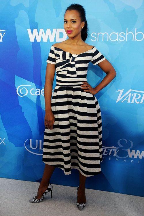 Керри Вашингтон в платье в полоску