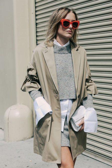 Парка, серый вязаный костюм и блузка оверсайз. Нью-Йорк 2016