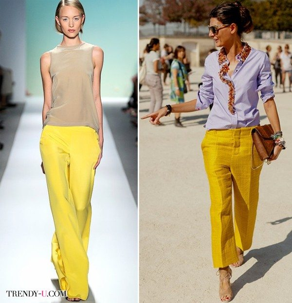 Желтые широкие брюки на модели и Джованне Батталье-Энгельберт
