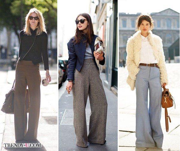 Шуба и жакеты в сочетании с серыми широкими брюками