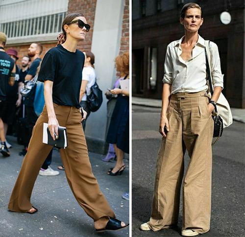 Коричневые и бежевые широкие брюки. Образы в повседневном стиле