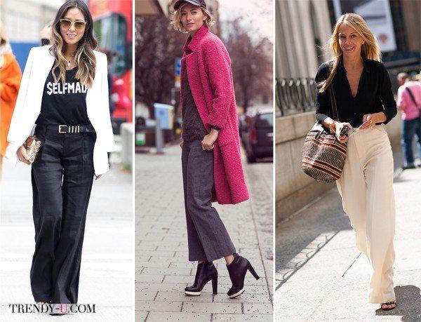 Белые, серые и черные брюки на модницах