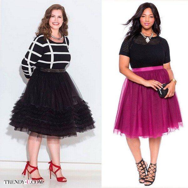 Модели плюс-сайз могут носить пышные юбки и выглядеть красиво