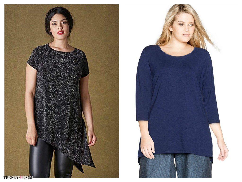 Трикотажные топы и футболки - база гардероба полных женщин