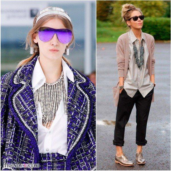 Chanel (фото 1) и уличная мода: колье с подвесками и рубашка - повседневный шик