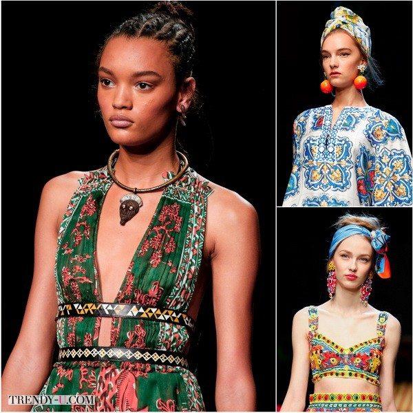 Украшения подобраны под стиль платья: 100%-ная этника от Valentino и Dolce&Gabbana